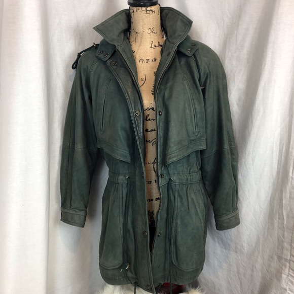 Green And Leather Parka Coat